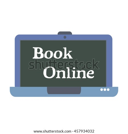 Isolated laptop with blue laptop and the text book online written on its screen. Booking concept - stock vector
