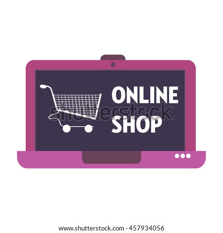Isolated laptop with shopping cart and the text online shop written on its screen - stock vector