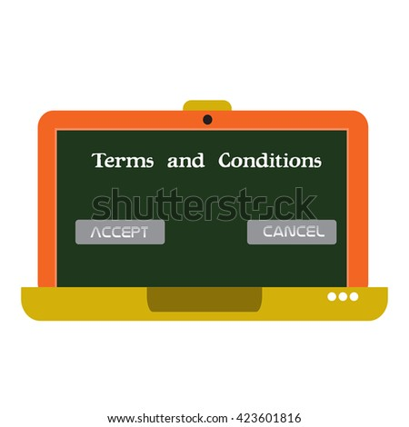 Isolated laptop with the text terms and conditions written on its screen - stock vector