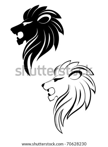 Isolated lion head as a symbol or sign - also as emblem. Jpeg version also available - stock vector