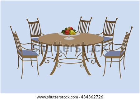 Isolated living room furniture, chairs and a round table, a bowl of fruit. Vector illustration, hand drawing.