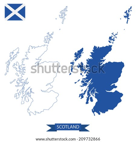 isolated maps of scotland, outline and silhouette - stock vector