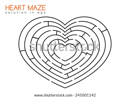Isolated maze in the shape of heart with solution in hidden layer of eps - stock vector