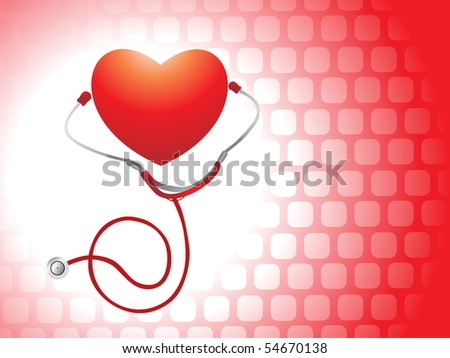 isolated medical instrument with heart, medical background - stock vector