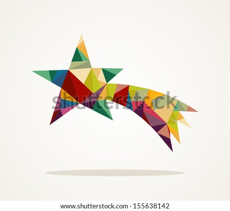 Isolated Merry Christmas colorful abstract shooting star with geometric composition. EPS10 vector file organized in layers for easy editing. - stock vector