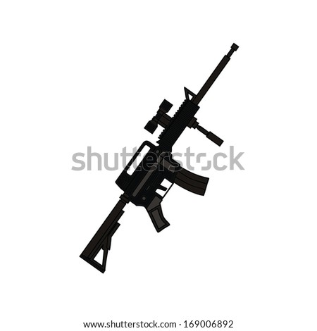 isolated military machine, weapon, vector illustration - stock vector