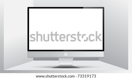 Isolated Monitor on a shelf - stock vector
