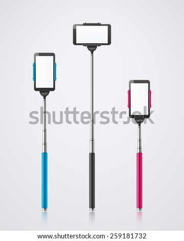 Isolated monopods with phones for selfie, eps 10