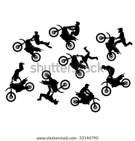 Isolated motocross rider jump vector set - stock vector