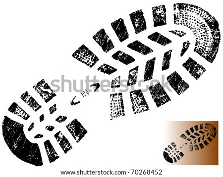 Isolated Mountain BootPrint - Highly detailed vector of a mountain boot- transparent vector so it can be overliad onto other graphic elements - stock vector