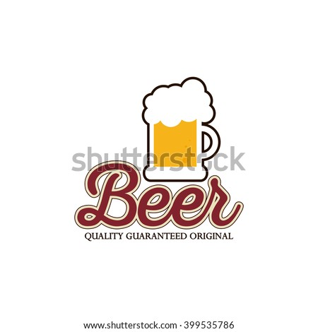 Isolated mug of beer icon with text on a white background