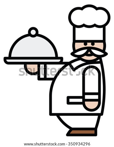 Isolated objects: cook with plate, on white background, editable vector image, for use as icon, patch, sticker, logo, design element - stock vector