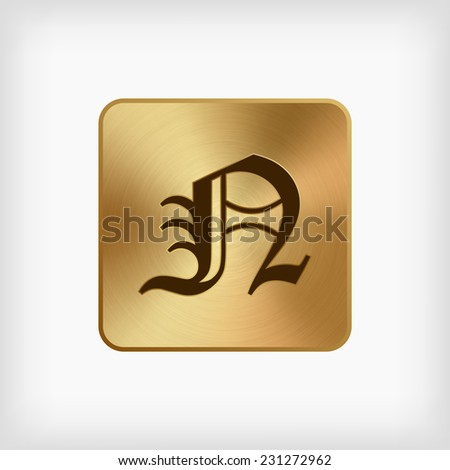 "isolated old english alphabet "" N "" letter in gold icon on white background (vector)"
