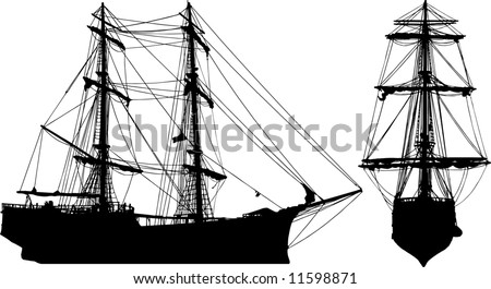 Isolated old ship - stock vector