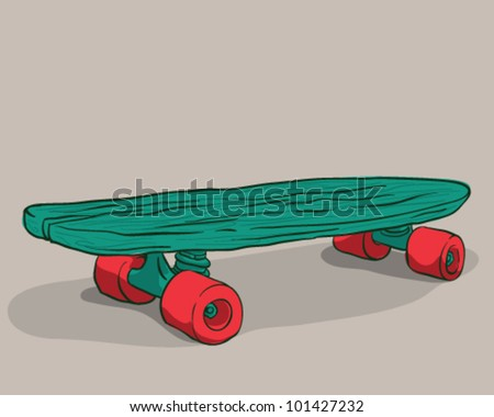 Isolated old skateboard on a light brown background