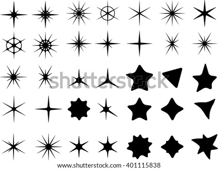 Isolated On White Background Star Symbols Stock Vector 401115838