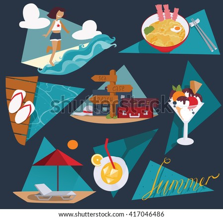 Isolated on dark blue vector illustration with set of summer vacation images. Happy girl and sea, ice cream, cocktail, cool noodle, flop flops and pointer with bags and suitcases, sunbed and umbrella. - stock vector