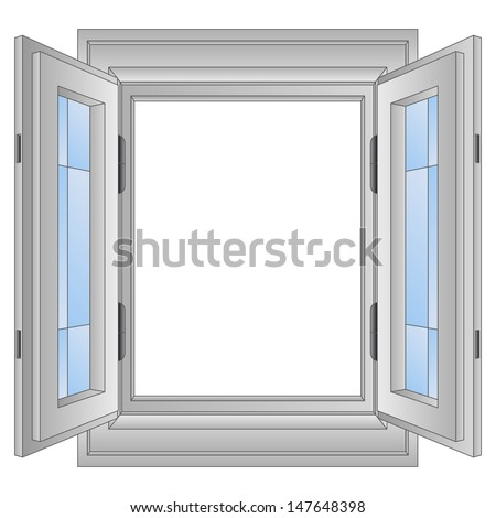 Isolated Open Aluminium Window Frame Vector Stock Vector HD (Royalty ...