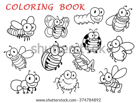 Isolated outline insect animals characters with fly and dragonfly, butterfly and mosquito, caterpillar and bee, spider and wasp, ladybug and grasshopper, bug and ant. For coloring book usage  - stock vector