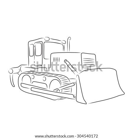 Isolated outline of bulldozer on the white background, vector illustration - stock vector