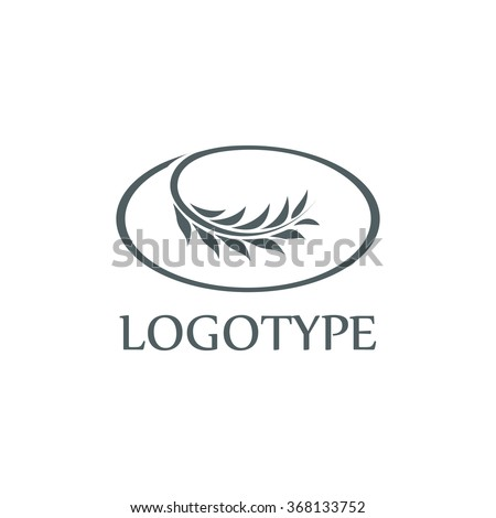 Isolated oval outline vector logo. Black an white ear of wheat. Backery products emblem. Harvest time symbol. Agricultural logotype. Crops image. Stalk of plant. Organic label. Olive branch. - stock vector
