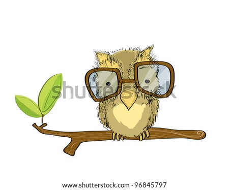 Isolated owl with glasses on branch, free hand drawing style, original design - stock vector