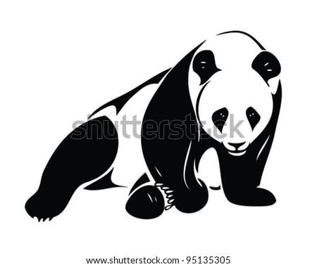 isolated panda illustration - vector - stock vector