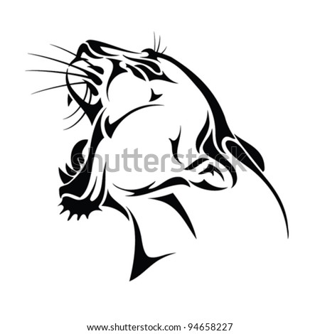 isolated panther head - tribal tattoo - vector - stock vector