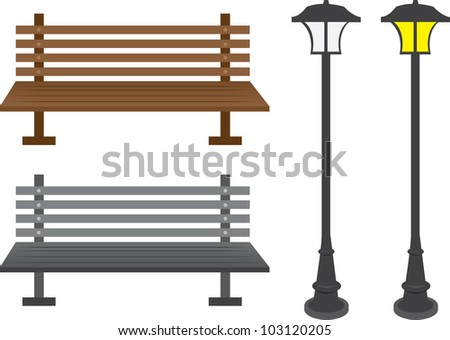 Isolated park benches light posts vector de stock103120205 shutterstock isolated park benches and light posts aloadofball Gallery