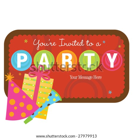 Isolated party items with sign - stock vector