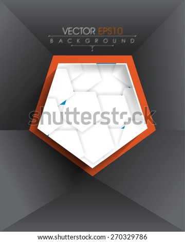 isolated pentagon with overlapping geometric elements inside eps10 vector background - stock vector
