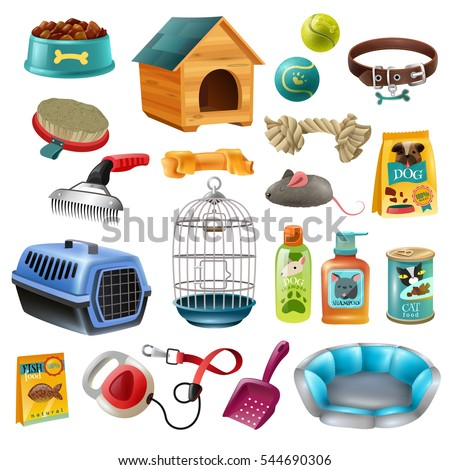 Isolated pet care accessory images set with wooden kennel dog-lead toys brushes and preserved food vector illustration