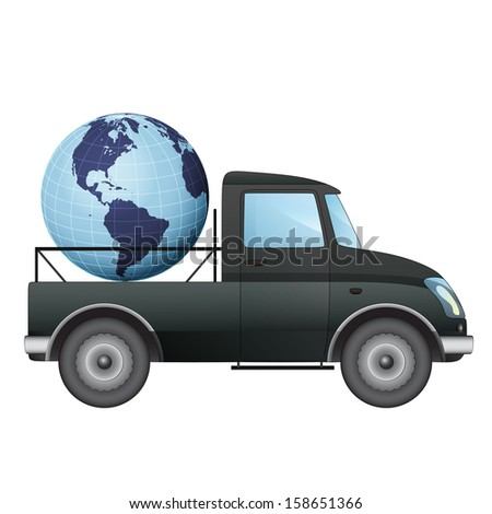 isolated pick up car transportation in american countries vector drawing illustration