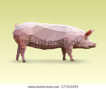 Isolated Pig made with triangles. Vector polygonal illustration