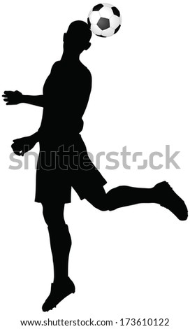 isolated poses of soccer players silhouettes in head strike position - stock vector