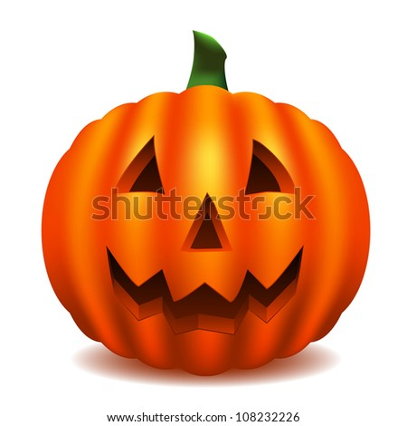 Isolated pumpkin carved with traditional face (contains gradient mesh) - stock vector