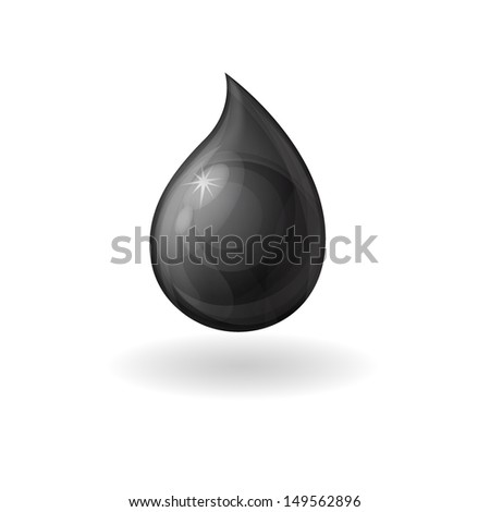isolated realistic black drop, drop of oil on a white background - stock vector