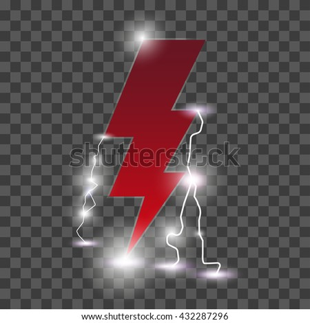 Isolated realistic lightning with transparency for design.  Lightning flat icon - stock vector