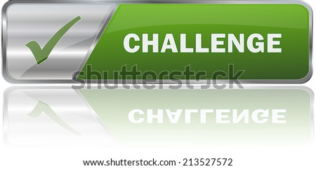 isolated realistic modern green 3D vector eps10 challenge label sign - stock vector