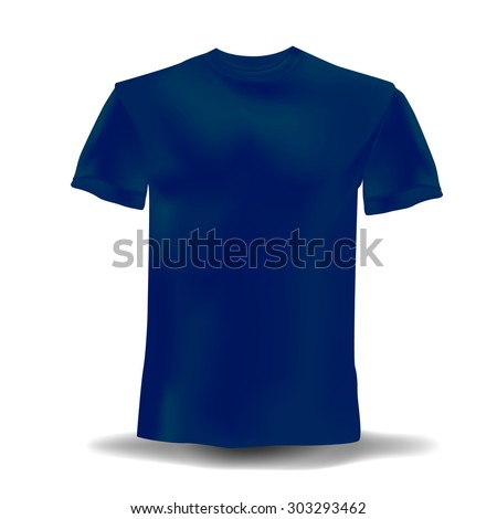 Isolated realistic navy blue template t-shirts on a white background. Vector illustration - stock vector