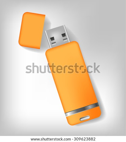 Isolated realistic orange usb memory sticks mock up. Vector illustration - stock vector