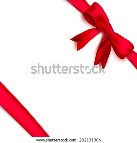 Isolated realistic tied the corners red bow and ribbon. Vector illustration - stock vector