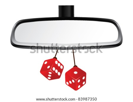 Isolated Rear View mirror with pair of red dices. Vector Illustration. - stock vector