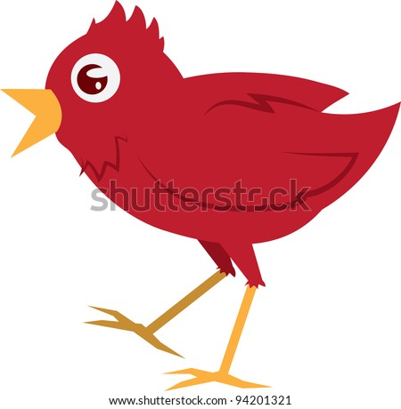 Isolated red bird walking with mouth open - stock vector