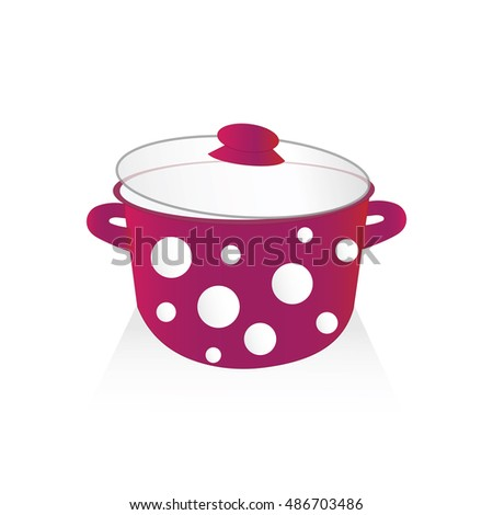 isolated red pot with white dots