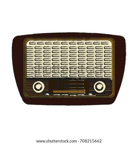 Isolated Retro Radio Design Stock Vector 708215662 - Shutterstock