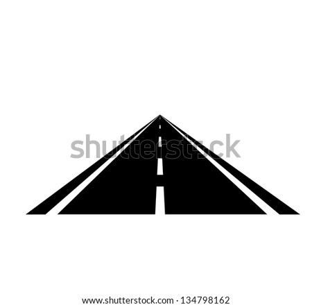 Isolated road icon on white background. Vector illustration. - stock vector