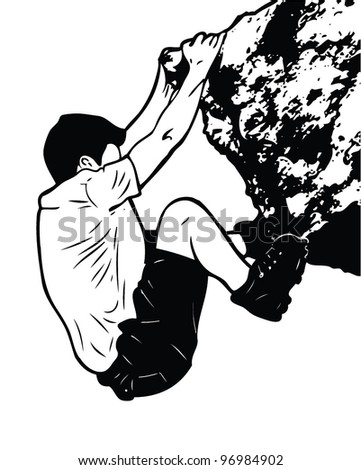 Isolated rock climbing guy - vector illustration - stock vector
