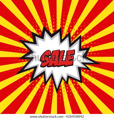 Isolated sale comic expression on a colored striped background