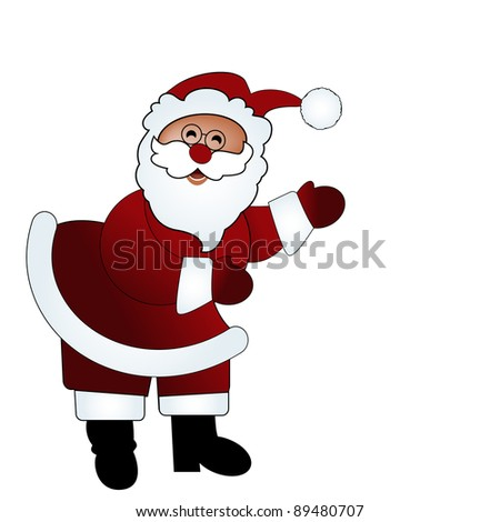 isolated santa - arms pointing